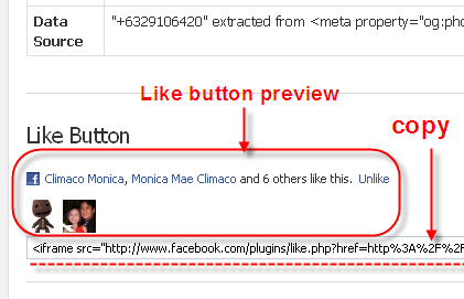 "Getting the ""Like"" button codes from URL Linter"