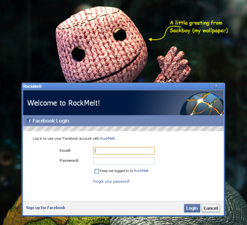 RockMelt Installation greets you with a Facebook Login
